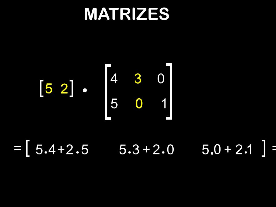 MATRIZES 4 3 3 [ ] 5 5 2 2 5 1 [ ] = 5 4 + 2 5 5 3 + 2 5 + 2 1 =